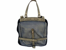 Sang A Women's Pane Dual Access Day Unique Leather Bag Purse Deep Blue Reg$1700