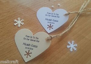 Personalised Favour Heart Shaped Tags for Winter Weddings!