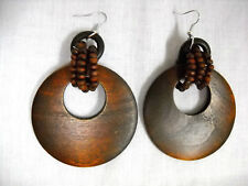 NEW BIG DARK BROWN FLAT HOOP w 3 WOOD BEAD STRAND WRAP DANGLING FASHION EARRINGS
