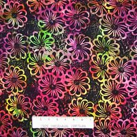 Tonga Batik Fabric - Rainbow Flowers on Black - Timeless Treasures Cotton YARD