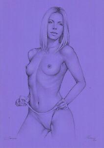 original drawing A3 511MS art samovar pastel Realism female nude Signed 2021