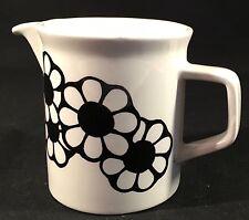 "Johnson Bros. Black White Daisy Flower Creamer Pitcher Juice Syrup Milk 3 1/2"" T"