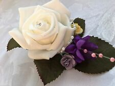 Double buttonholes, flowers, corsage for bride or bridesmaid groom yellow purple