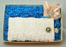 Lace White Pink Rhinestone Soft Eye Glasses Case  Rose Scented Sachet Gift Set 2