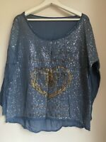 BLUE SEQUIN TOP M/L 14 SUMMER HOLIDAY TOWIE FESTIVAL CELEB PRETTY SPARKLY GLAM