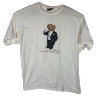 Men's Ralph Lauren Polo Tuxedo Bear VINTAGE RARE TEE T SHIRT SIZE L Early 90's