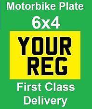 small bike number plate 6x4 motorbike motor cycle show plate motor bike Yellow.