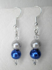 Deep blue and silver 8mm glass pearl and clear beads Approx.5cm drop