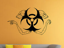 Biohazard Sign Wall Decal Skull Skeleton Vinyl Sticker Wall Murals Home Decor 7