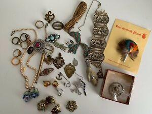 Vintage costume jewellery bundle rabbit foot hat pin brooches earrings