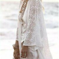 New Women's Lace Fringe Hem Kimono Duster Maxi Boho White Top Jacket Size M - 2X