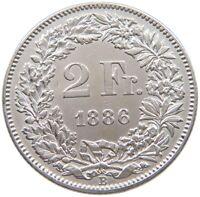 SWITZERLAND 2 FRANCS 1886 RARE #t123 111
