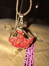 Betsey Johnson Necklace Pretty Dancer Red Gold Crystals