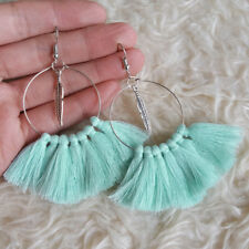 NEW Womens Bohemian Hippies Turquoise Tassels Leave Charm Dangle Hook Earrings