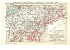 Antique map. North America. Usa. North Atlantic States. 1900