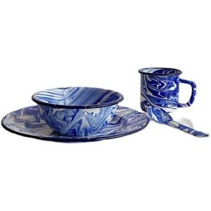 Enamelware Salad Plate Bowl Spoon Mug Retro Marble Abstract Collection Home Blue