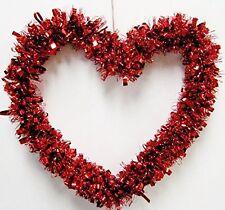 "Valentine's Day Red Heart Shape Tinsel Garland Wreath Door Hanger Wall Décor 14"""