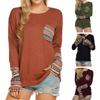 Women Vintage Print Patchwork Casual Loose T-Shirts Tops Blouse With Thumb Holes