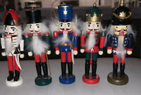 "Wooden Nutcracker Ornaments Set of Holiday nearly 4"" tall"