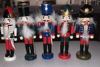 "Wooden Nutcracker Ornaments Set of Holiday nearly 4"" tall"