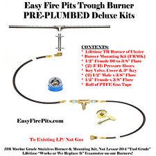 """TB122K++122"""" LONG SS316 BURNER COMPLETE DELUXE KIT FOR PLUMBED NAT GAS/PROPANE"""