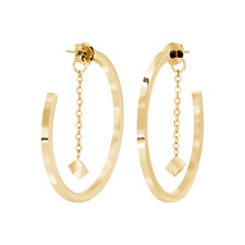 TRESOR PARIS QUANTUM CUBUS YELLOW GOLD PLATED STAINLESS STEEL EARRINGS