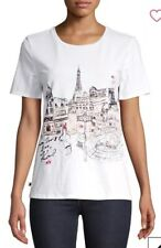 NEW NWT Karl Lagerfeld White Fashion Sketch Paris Eiffel Cotton T-Shirt Top S