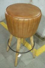 Leather Barstool - Kitchen - Bar - Island - Counter - Breakfast Bar - Wood Legs