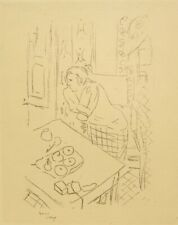 Henri Matisse; 95 year old original antique art deco lithograph engraving; 1925