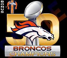 "Denver Broncos SUPER BOWL 50 CHAMPIONS 11"" Decal Sticker FULL COLOR Car Boat"