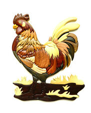 Rooster Bird Chicken Intarsia Wood Wall Art Home Decor Plaque Lodge New