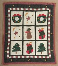 New listing Christmas Handcrafted Throw Quilt - Snowman/Wreaths/Stockings /Trees/Moons/Stars