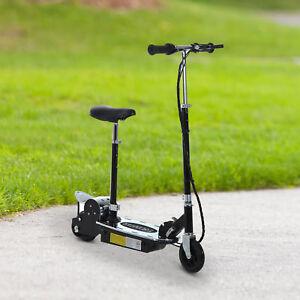 HOMCOM Electric Scooter Kids w/ Brake Kickstand Foldable Black 120W 13km/h