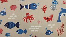 Sea World Lino peces Lino Look Cortina Tapicería De Diseñador De Tela de algodón de artesanía