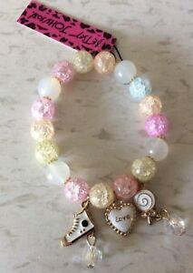 Betsey Johnson Charm Bracelet Multicolor Crystal Gemstones Brand New Great Gift