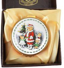 Kingsley Enamel Hinged Trinket Box Santa Bear Worcestershire England. Box Coa