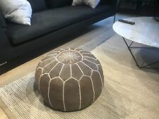 Stunning Moroccan Leather Ottoman Pouffe Pouf Footstool In Traditional Brown