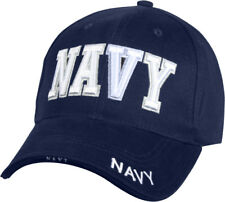 Navy Blue / White US Navy Hat Adjustable Military Ball Cap USN Embroidered