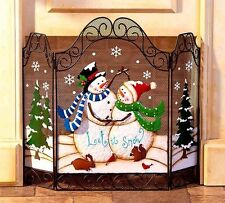 Holiday Christmas Winter Fireplace Hearth Screen Snowman Couple Let It Snow NEW