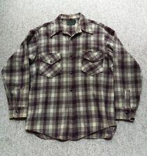 Vintage Chippewa Mens Brown Wool Plaid Hunting Gear Field Work Shirt Medium L/XL