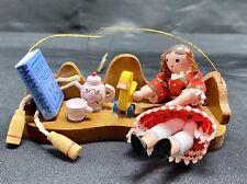Vintage Kurt S. Adler Wood Christmas Ornament Girl On Bench Original Tag