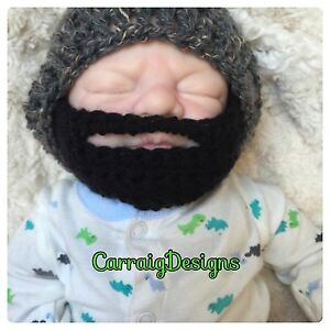 HANDMADE Baby boy Beard hat black Bearded photo grey prop beanie father cap dad