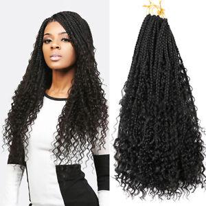 "18"" Ombre Goddess Faux Locs Curly Crochet Box Braids River Locs Hair Extensions"