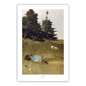 Distant Thunder, 1961 by Andrew Wyeth Art Print Wife Betsy with Dog Field 20x30