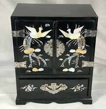 Vintage Chinoiserie Lacquered Jewelry Box Armoire