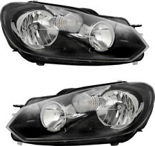 Headlights Assembly w/Bulb NEW Pair Set for 10-14 Volkswagen Jetta Golf Wagon