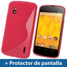Rojo Funda TPU Gel para LG Google Nexus 4 E960 Smartphone Case Carcasa