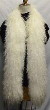 Mongolian Lamb Boa Scarf White Tibetan Fur new usa made real genuine authentic
