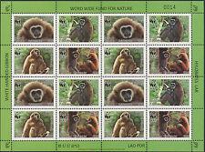 LAOS Bloc N°1682/1685** Bf de 4 séries,Singes Gibbon, 2008 Sheet WWF  Monkeys