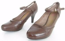 M&S FOOTGLOVE WIDER FIT SIZE 6.5 WOMENS BROWN MARY JANES ANKLE STRAPS SHOES